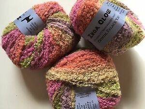 LOT-of-3-Crystal-Palace-Yarns-Inca-Clouds-405-Peruvian-Lilies-Alpaca-Bl-Boucle