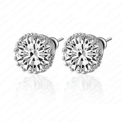 Clear Zircon Topaz 18K White GP Crystal Micro Inlays Earrings CER0001B