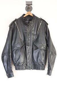 VTG-Yamaha-Leather-Jacket-Motorcycle-Moto-Size-44-Biker-Talon-Zippers-Black