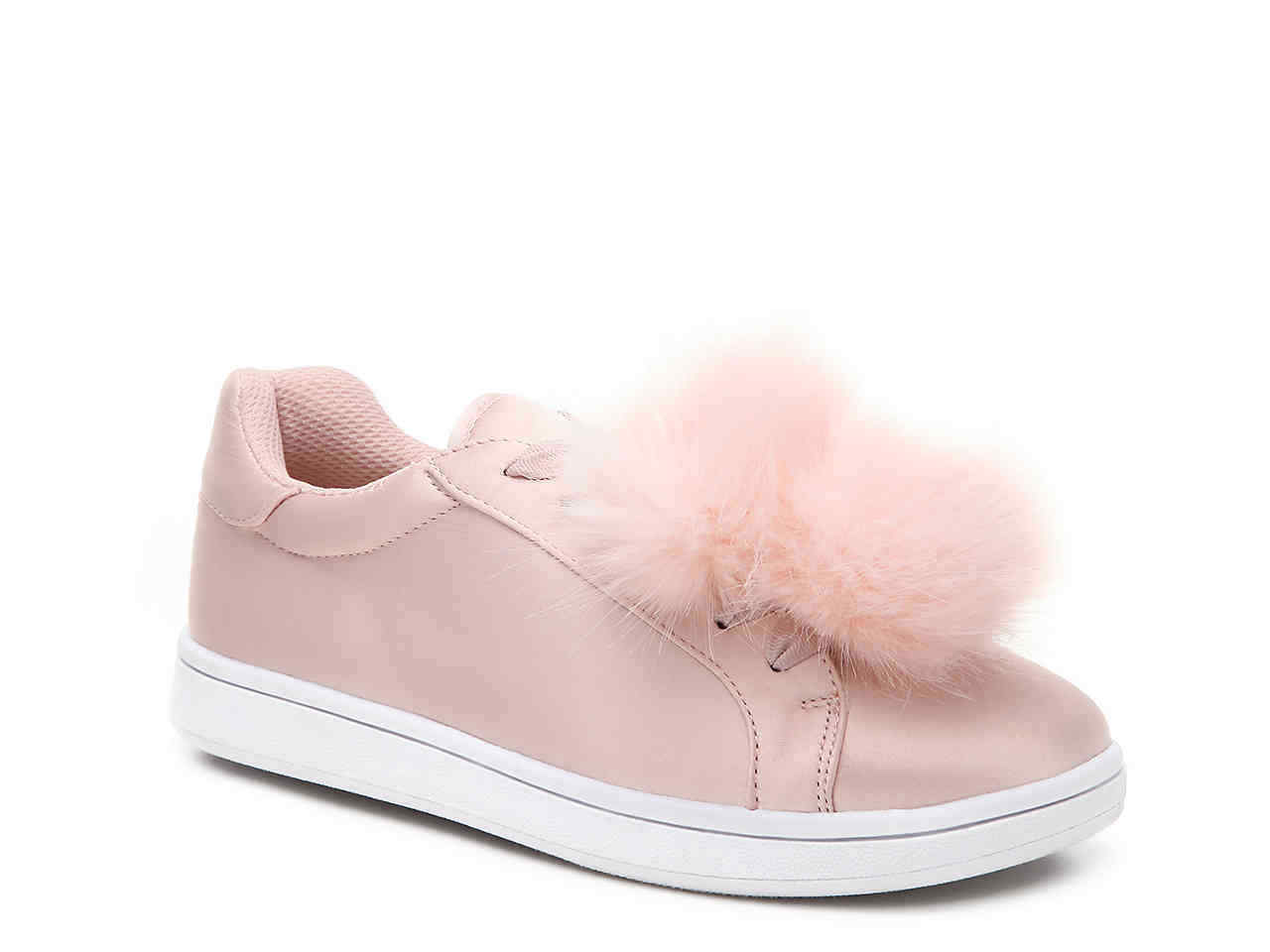 "Madden Girl Pink Satin Lace-Up Sneakers W Removable Pom-Pom Accents ""BRIITNYY"""