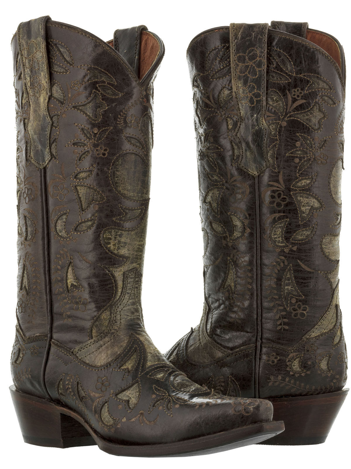 Womens Brown Half Overlay Distressed Real Leather Leather Leather Western Cowgirl Boots Snip Toe ee7c5b