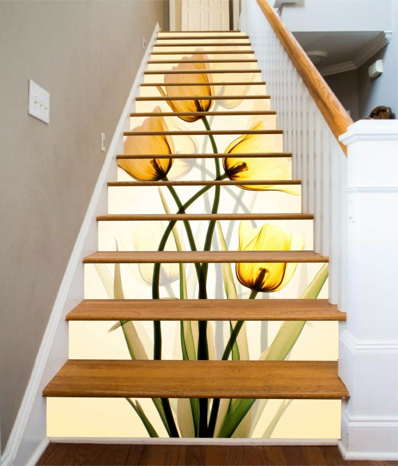 3D Tulip Flower 229 Stair Risers Decoration Photo Mural Vinyl Decal Wallpaper AU