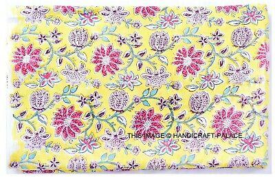 5 Yard Print Green Floral Jaipur Hand Block 100/% Cotton Craft Sewing Fabric