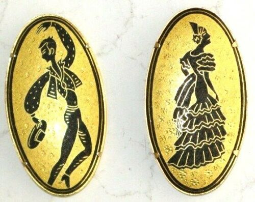 FLAMENCO DANCERS PIN SET OF TWO  BLACK ON GOLD 194