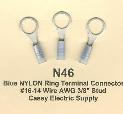 "25 Blue NYLON Insulated RING Terminal Connectors #16-14 Wire AWG 3/8"" Stud MOLEX"