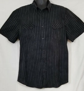 617a27e03c94be Helix Men's Striped Black White Striped Button Front Short Sleeve ...