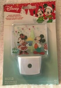 DISNEY CHRISTMAS Nightlight MICKY n MINNIE MOUSE Sensor Nightlight LED Brand New