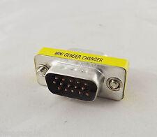 VGA/SVGA 15 Pin DB15 Male To Male Plug D-SUB 3 Rows Mini Gender Changer Adapter
