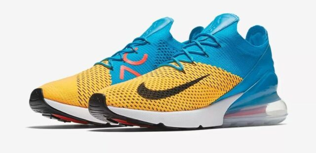 29d5477d427e8 Nike Air Max 270 Flyknit Mens Ao1023-800 Laser Orange Blue Orbit Shoes Size  11.5