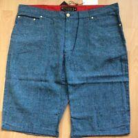 Rich Gang Men's Shorts / Blue Multi Color Linen / Cotton Blend