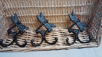3 Cast Iron Antique Style BUTTERFLY Coat Hooks Hat Hook Rack Towel GARDEN Plant