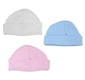 BABY HAT GIRL/BOY WHITE/BLUE/PINK NEWBORN,0-3 MONTHS 100% COTTON SOFT TOUCH