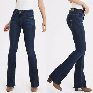 American-Eagle-Outfitters-AE-Women-s-16-Short-Artist-Stretch-Blue-Flared-Jeans