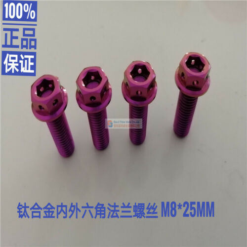 4pcs M8X25MM Titanium Flange Bolts Hexagon Motorcycle Screw Tooth Pitch 1.25