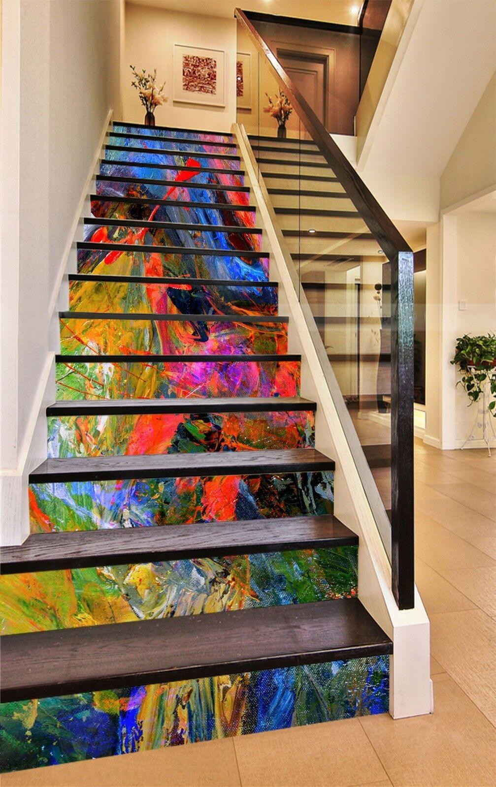 3D Farbeful 2 Stair Risers Decoration Photo Mural Vinyl Decal Wallpaper UK