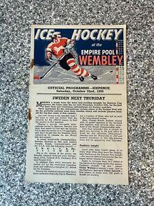 Wembley Empire Pool - Wembley Lions - Ice Hockey Programme 22/10/1955