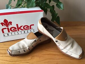 0ddc1fa29 Ladies Rieker Antistress Doro beige leather slip on casual shoes UK ...