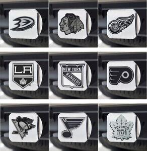 NHL-Chrome-Hitch-Cover-Heavy-Duty-Metal-Many-Teams