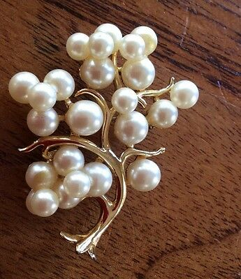 Vintage Pearl Tree Brooch Jewellery 1960s Antique Estate