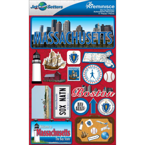 Jet Setters STATE Dimensional Stickers 4.5 Inch X 6.75 MASSACHUSETTS