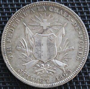 SUISSE-5-FRANCS-1863-CHAUX-DE-FONDS-ARGENT