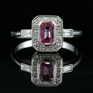 Details about ANTIQUE ART DECO PINK SAPPHIRE DIAMOND RING 18CT WHITE GOLD