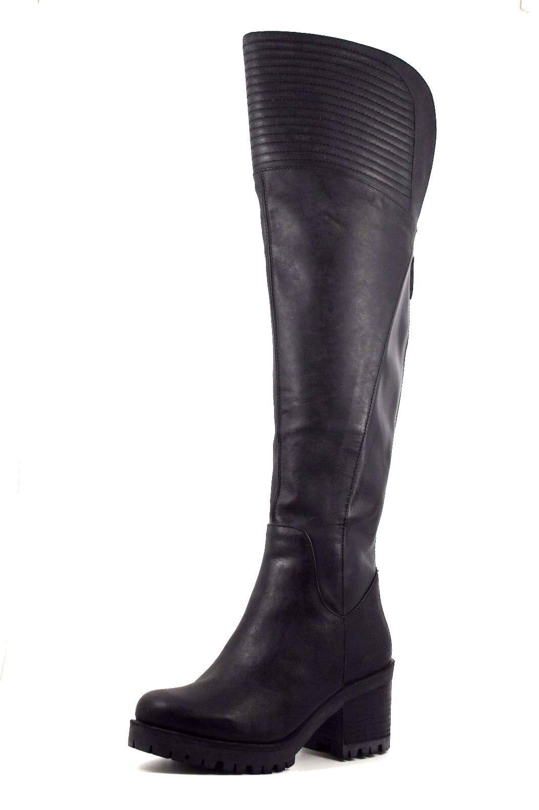 Nine West Ultrapúrpuraa Para Mujer Mujer Mujer Reino Unido 3 Negro Cuero Bloque talón a la Rodilla botas Nuevas df3db1