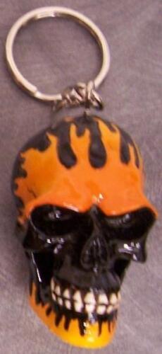 Pewter Key Ring Whimsical Novelty Flaming Skull NEW