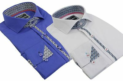 RRP £ 145. Duchamp London GRAPHIC blocchi Blu Navy varie Taglie Bianco Stampa Camicia