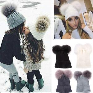 15bfaff129a Fashion Mom Newborn Baby Boy Girl Winter Double Fur Pom Bobble ...