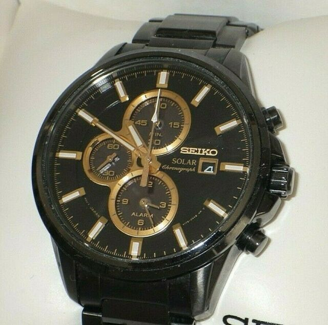 Seiko Ssc269 Solar Chronograph Black Ion Stainless Steel Men S Watch V199