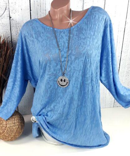 Taille 48-Chauve-Souris Shirt Tunique Chemisier dans ausbrenner Simili Bleu De Sheego