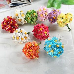Diy paper flower bouquets yellow ball stamen party wedding image is loading diy paper flower bouquets yellow ball stamen party mightylinksfo