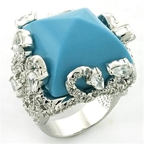 683 STATEMENT SEA BLUE SIMULATED TURQUOISE PLATED RING SQUARE PEAR FANCY SETTING