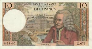 Vintage-France-10-Francs-Banknote-1971-Pick-147c-Voltaire-Old-French-Currency