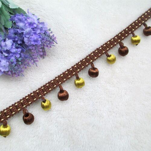 1M Curtian Tassel Pom Pom Bead Fringe Trim Edge Ribbon Upholstery Cushion Decor
