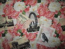 PARIS BONJOUR POST CARDS EIFFEL TOWER FLOWERS COTTON FABRIC BTHY