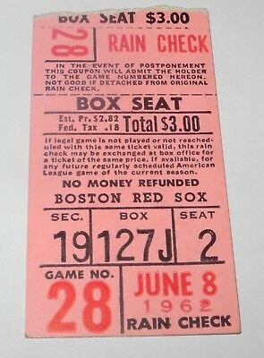 Ingenious 1962 Boston Red Sox Indians Baseball Ticket Stub Bressoud Francona Kirkland Hrs Baseball-other