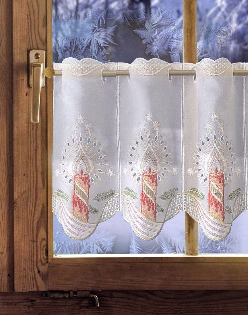 SCHEIBENGARDINE   Weihnachtsgardine  Festliche Kerze  | Große Große Große Klassifizierung  0fd907