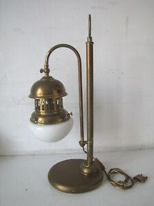 Lampada Da Tavolo Tipo Navale In Ottone E Vetro Opalino Vintage Ebay