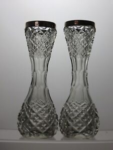 Antique-Pair-Cut-Glass-amp-Solid-Silver-Collar-Posy-Bud-Vases