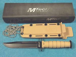 MTech-MT632DT-Mini-Combat-Bowie-Neck-Knife-Desert-Tan-fixed-blade-6-034-overall-NEW