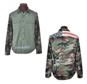 7c2d20861981c Denim Supply Ralph Lauren Camo Shirt Mens S USA Flag Cotton Long ...