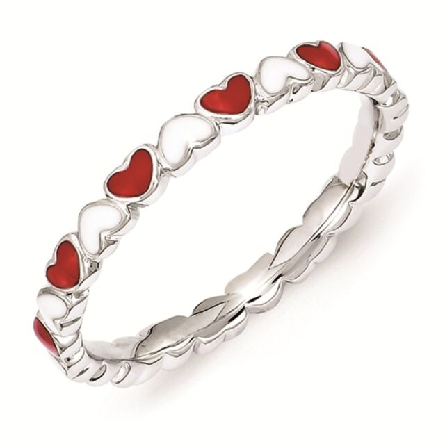 Sterling Silver Stackable Ring 2.50 mm Red & White Enamel Heart Ring, QSK1497