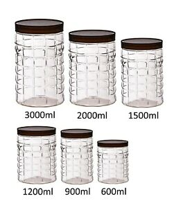 Pet Clear Plastic Jar Dry Food Storage Canister Kitchen Container Large Screw To Ebay