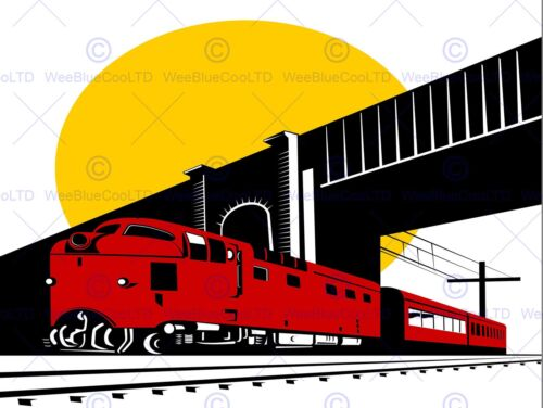 PAINTING ILLUSTRATION TRANSPORT TRAIN RAILWAY BRIDGE SUN POSTER PRINT BMP11374