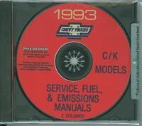 1993 Chevrolet C/k Pickup Factory Shop & Overhaul Manual On Cd