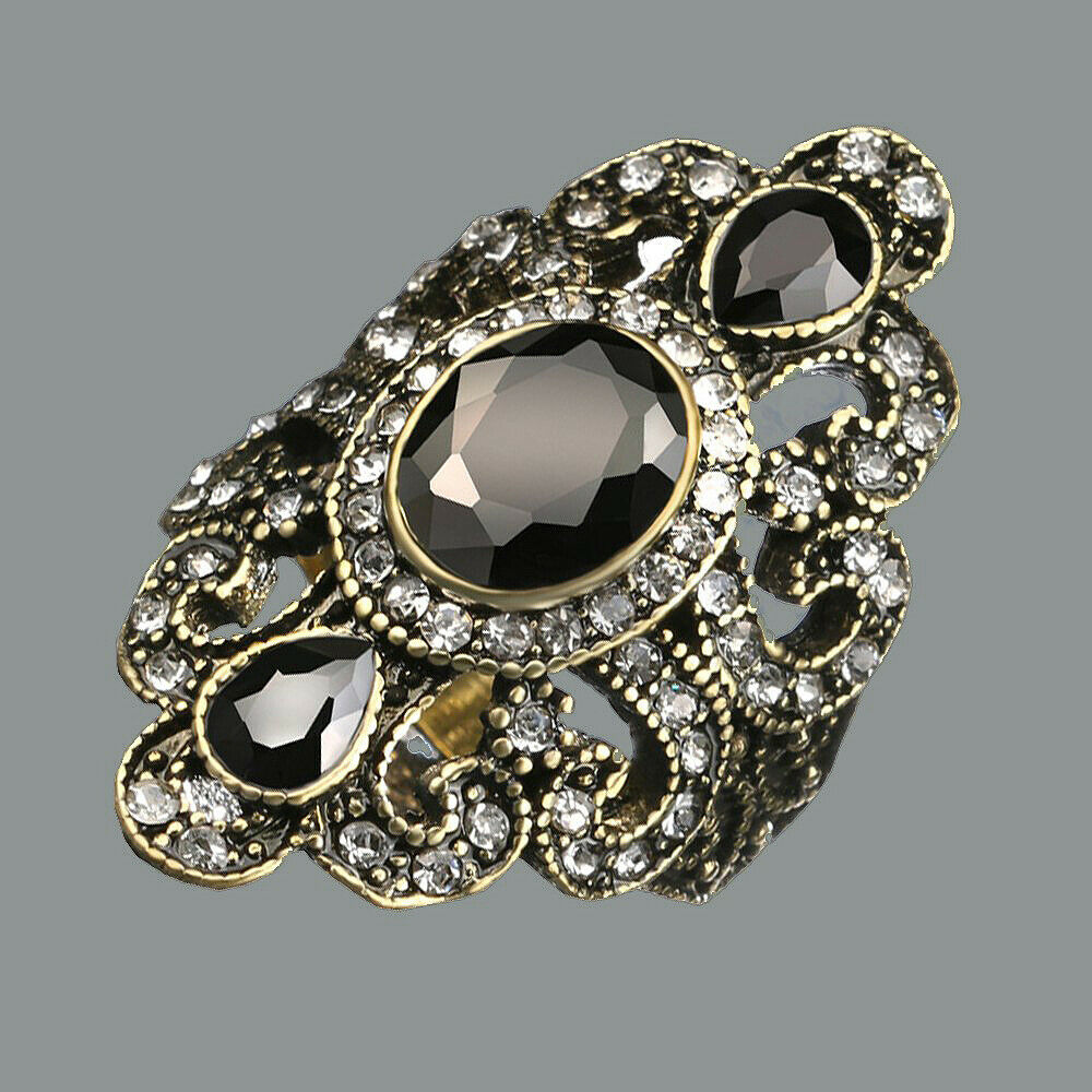 Bohemian Vintage Style Black Rhinestone Ring - Size 9