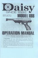 Daisy Air Pistol Model 188 Bb Gun Owners Manual Handbook