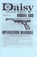 Daisy Air Pistol Model 188 Bb & Pellet Gun Owners Manual Handbook